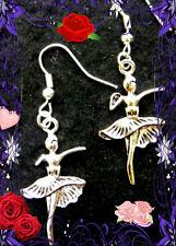 Tibetan Silver Double Side Ballerina Dangle Earrings/Sterling Hooks/ US Seller