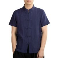 Summer Men's Linen T Shirt Chinese style Blouses Stand collar Button Down New L