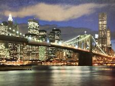 BROOKLYN BRIDGE LED Light Up Lighted Canvas Painting Picture Wall Art Home Decor