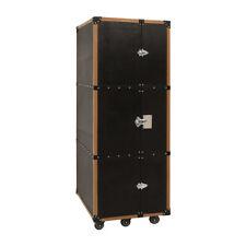 Wine Bottle Holder Liquor Black Leather Handcrafted Wood Bar Cabinet