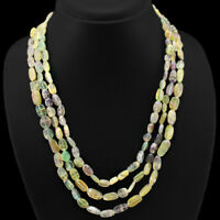 FINEST QUALITY EVER 339.00 CTS NATURAL 3 LINE MULTICOLOR FLOURITE BEADS NECKLACE