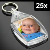 25x Clear Acrylic Blank Keyrings Key Fobs 35 x 24 mm | Small Size Photo