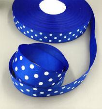 "Royal Blue 5 Yards 1""( 25mm)  printed large dots Grosgrain Ribbon Bow Handmade"