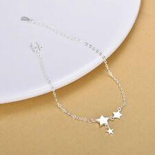Link Foot Chain Ankle Bracelet #Ab40 Women's 925 Sterling Silver Stars Rolo