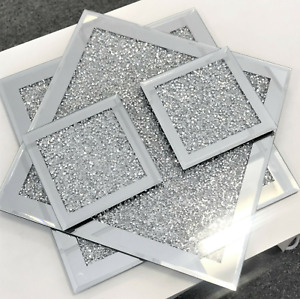 Set of 1/4/6 SILVER COASTER TABLE MAT Crushed Diamond Romany Dining placemat NEW