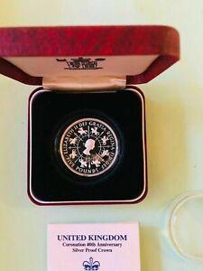 1993 Coronation 40th Anniversary Silver Proof Crown Queen 1 Oz 925 Silver Coin