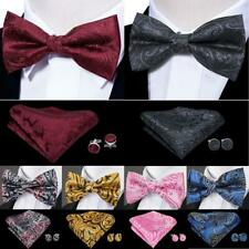USA Mens Silk Bowtie Set 29 Colors Red Blue Black Pink Tie Pretied Wedding Party
