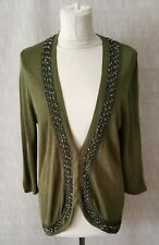 Alex&co womens olive green cardigan sequin & beaded open hook size 14