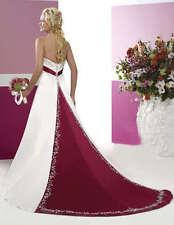 New White Satin Wedding dress Gorgeous Bridal Gown Stock Size 6 8 10 12 14 16 18