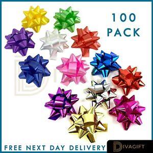 100 Christmas Present Gift Bows Large Birthday Metallic Self Adhesive Wrapping