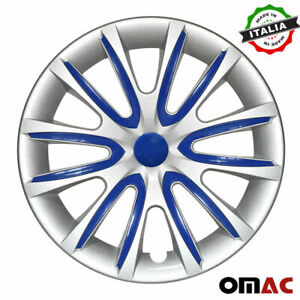 """15"""" Inch Hubcaps Wheel Rim Cover for Audi Gray with Dark Blue Insert 4pcs Set"""
