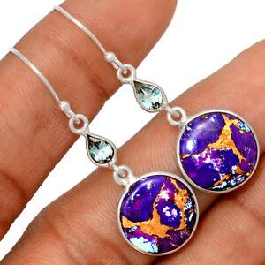 Copper Purple Turquoise, Arizona & Blue Topaz 925 Silver Earrings BE52623