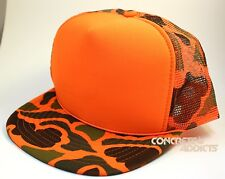 Bright Orange Foam Front Camo Mesh Trucker Huinting Hunter Style Hat Nissin Cap