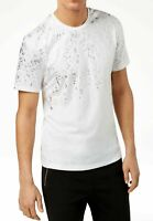 INC Mens T-Shirt Silver White Size 2XL Embellished Metallic Pocket Tee $29- 404