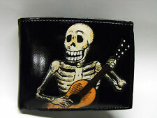 Skeleton Playing Guitar Leather Wallet Day of the Dead - M186