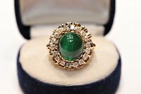ANTIQUE ORIGINAL 18K GOLD NATURAL DIAMOND AND EMERALD DECORATED RUSSIAN RING