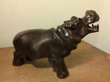 """Vintage Solid Brass Hippopotamus Statue 8"""" L Factory Aged Finish As Found Euc"""