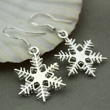 925 Sterling Silver Charms Snowflake Dangle Earrings Xmas Gift Jewelry