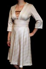 M Vtg 70s Chevron Secretary Day Dress Wide Waist A-Line Skirt Brown Stripe Knit