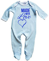 """Dirty Fingers """"Made with Love Heart"""" Baby & Toddler Sleepsuit Nightwear gift"""