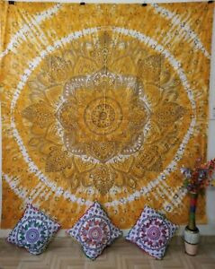 Ombre Flower Queen Tapestry Yellow Gold Cotton Textile Bedcover Wall Hanging Art