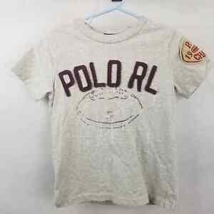 Polo Ralph Lauren Boys Gray Short Sleeve Casual Patchwork Tee T-Shirt Size 4