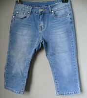 Bermudas ADERENTI Pantaloni corti PINOCCHIETTO di jeans donna M L 44 ginocchio