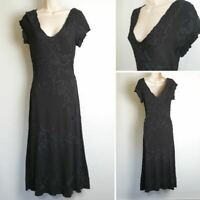 Phase Eight Vintage 90's Black Scallop Neck Wiggle Wool Midi Occasion Dress 10