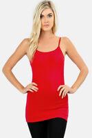 Women's Longline Cami Adjustable Spaghetti Straps Tank Top Cotton Layering Slim