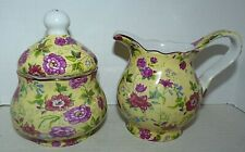 Baum Brothers Chintz Charlotte Yellow Sugar & Creamer Set Rose Formalities