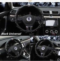 Black Car Steering Wheel Cover PU leather 38CM Rhinestone Crystal Diamond Crown