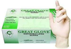 100pcs Latex Gloves Great Glove Disposable Powder Free Medical Grade Food Safe
