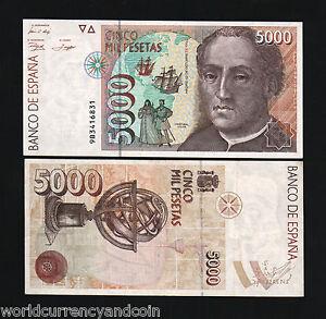 SPAIN 5000 P165 1992 COMMEMORATIVE REPLACEMENT 9B AUNC COLUMBUS 500 US DISCOVERY