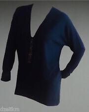 NWT $238 MAGASCHONI Silk Wool Blend Embellished Sweater Tunic L