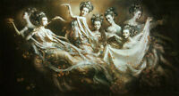 """Large Oil painting portraits Dunhuang flying seven girls playing canvas 24""""x36"""""""