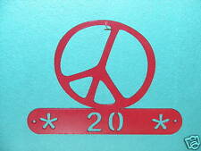 PEACE SIGN METAL HOME ADDRESS WALL DECOR HOUSE PLAQUE