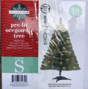 Pre-lit Oregon Fir Tree 3 Ft 70 Clear Light 18 Tips Small Christmas Decor