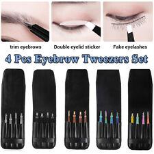4Pcs/Set Eyelash Eyebrow Tweezer  Hair Remover Clip Splinter Set w/ Leather Case