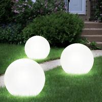 3 x LED Solar Außen Steck Garten-Lampen Hof Leucht KUGEL Solarleuchte Solarlampe