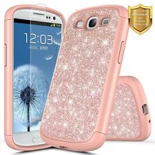For Samsung Galaxy S3 / S4 Case Bling Glitter Phone Cover + Screen Protector