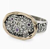 NWT SHABLOOL DIDAE 925 Sterling Silver 14K Gold  AMETHYSTS Ring Sz 7 Made Israel