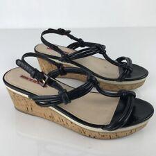 4326ce7e1dc47 Prada Womens Wedge Sandals Black T Strap Ankle Buckle Cork Heel Shoes 39.5  8.5