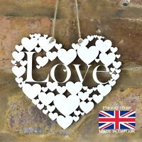 White Love wall hanging heart gift romantic decoration art wooden sign