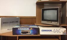 Vintage Commodore 64C Computer Keyboard, Monitor, Floppy Disk Drive