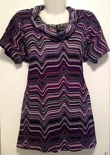 Women's Purple Wavy Design Cowl Neck Short Sleeved Stretch Top Blouse Size 10
