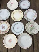10 - Vintage Mismatched Dessert Plates Wedding Mad Hatter Shabby Pinks   # 160