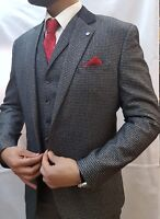 Designer Men's Checked Vintage 3 Piece Suit Blazer Jacket - Free Alterations