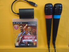 ps3 SINGSTAR GUITAR + 2 Wired Singstar Mics Microphones PAL REGION FREE