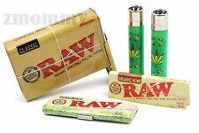 RAW Organic Hemp 1 1/4 Rolling Papers+2 Lighters+Slide Top Tin+Pack Storage Tin