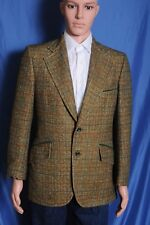 Vintage 70s Green Plaid Polyester wide lapel two button sport coat blazer 40